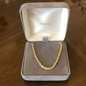 "18"" 18 karat gold rope necklace"
